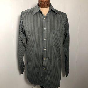 Mens Grey with Black Stripe Dress Shirt. Like New